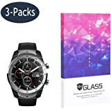 BECROWM for Ticwatch Pro Tempered Glass Screen Protector Smartwatch Screen Protector 9H Hardness Full Coverage Screen Protector 3 Packs