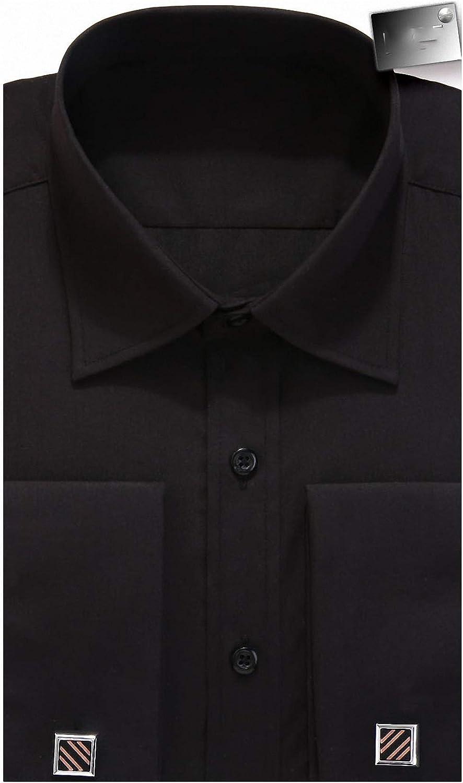 Lakke Shirt Casual Men French Cuff Long Sleeves Fit Dress Shirts