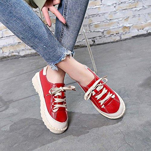 Planos Botas Deportivos Cordones los Zapatos Zapatos con de para Tobillos Zapatillas Mujer Cuero C para Cortas Mujer en wCxq0P1Z