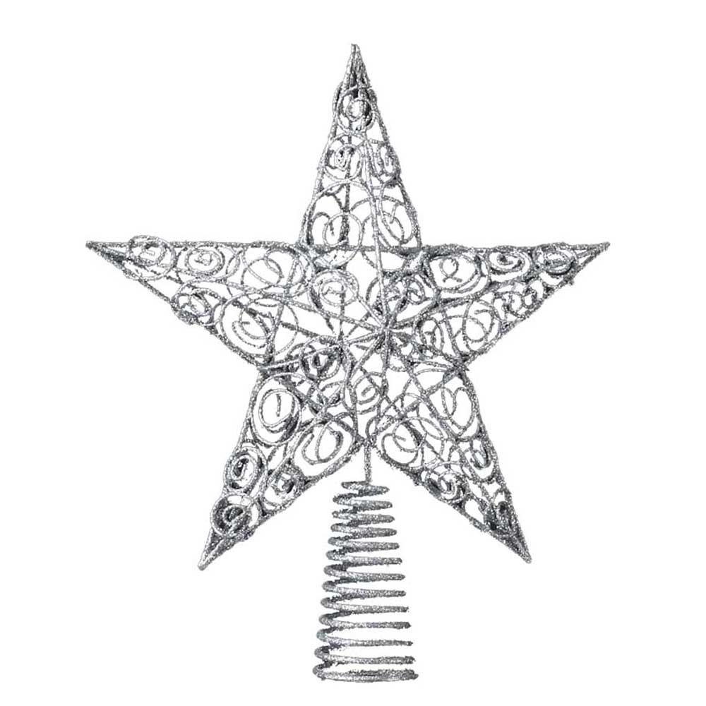 Amazon Com Kurt Adler 10 Inch Silver Star Treetop Home Kitchen - Make A Christmas Star Tree Topper