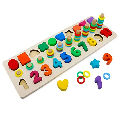 Home Montessori Educational Wooden Toys For Children Number And Counter Match-up Puzzle Early Toys Childhood Education 1 Set