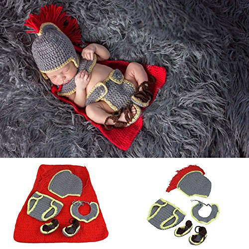 Osye Baby Crochet Knitted Outfit Knight Cloak Costume Set Photography Props -
