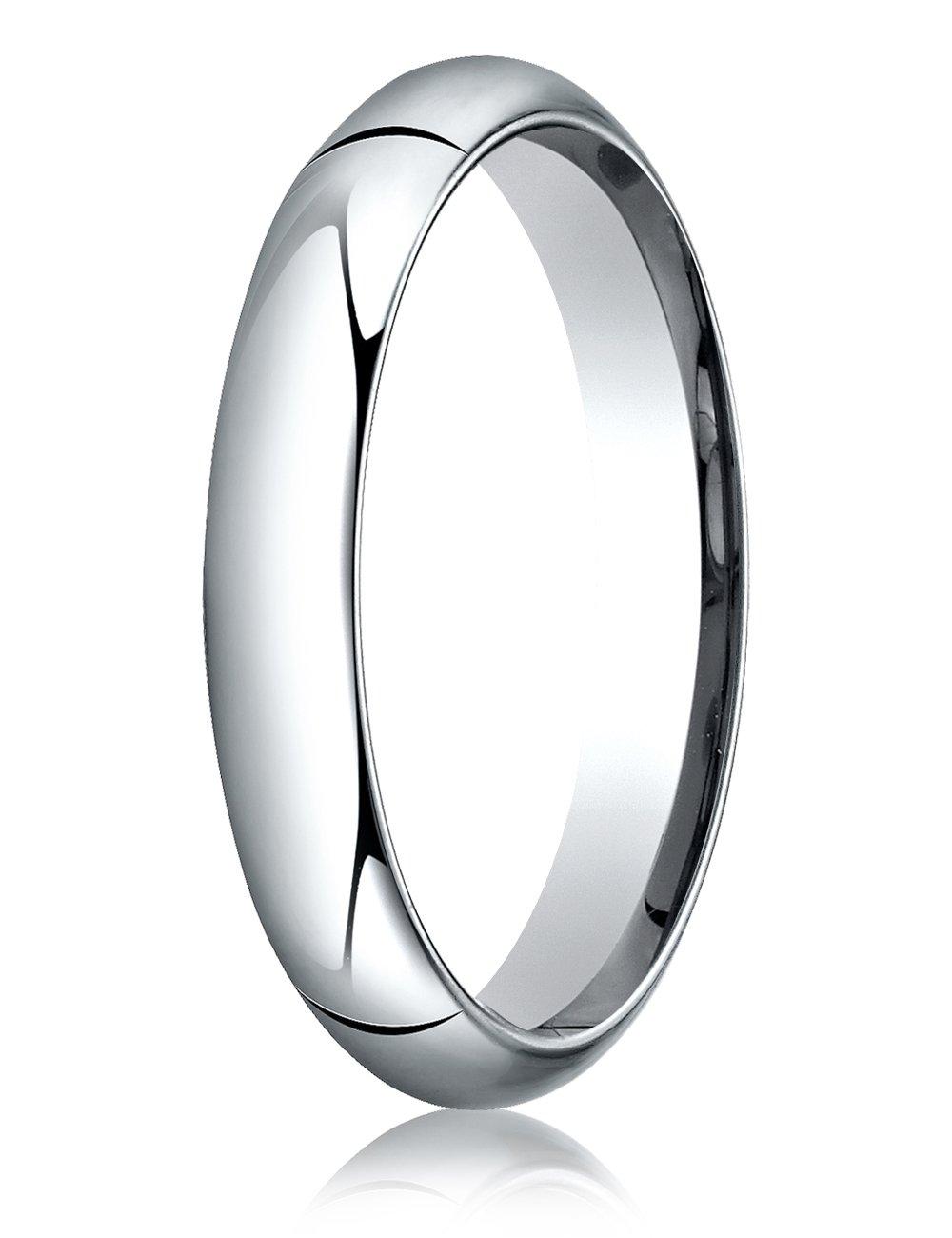 Benchmark Platinum 4mm Slightly Domed Standard Comfort-fit Ring Size 10
