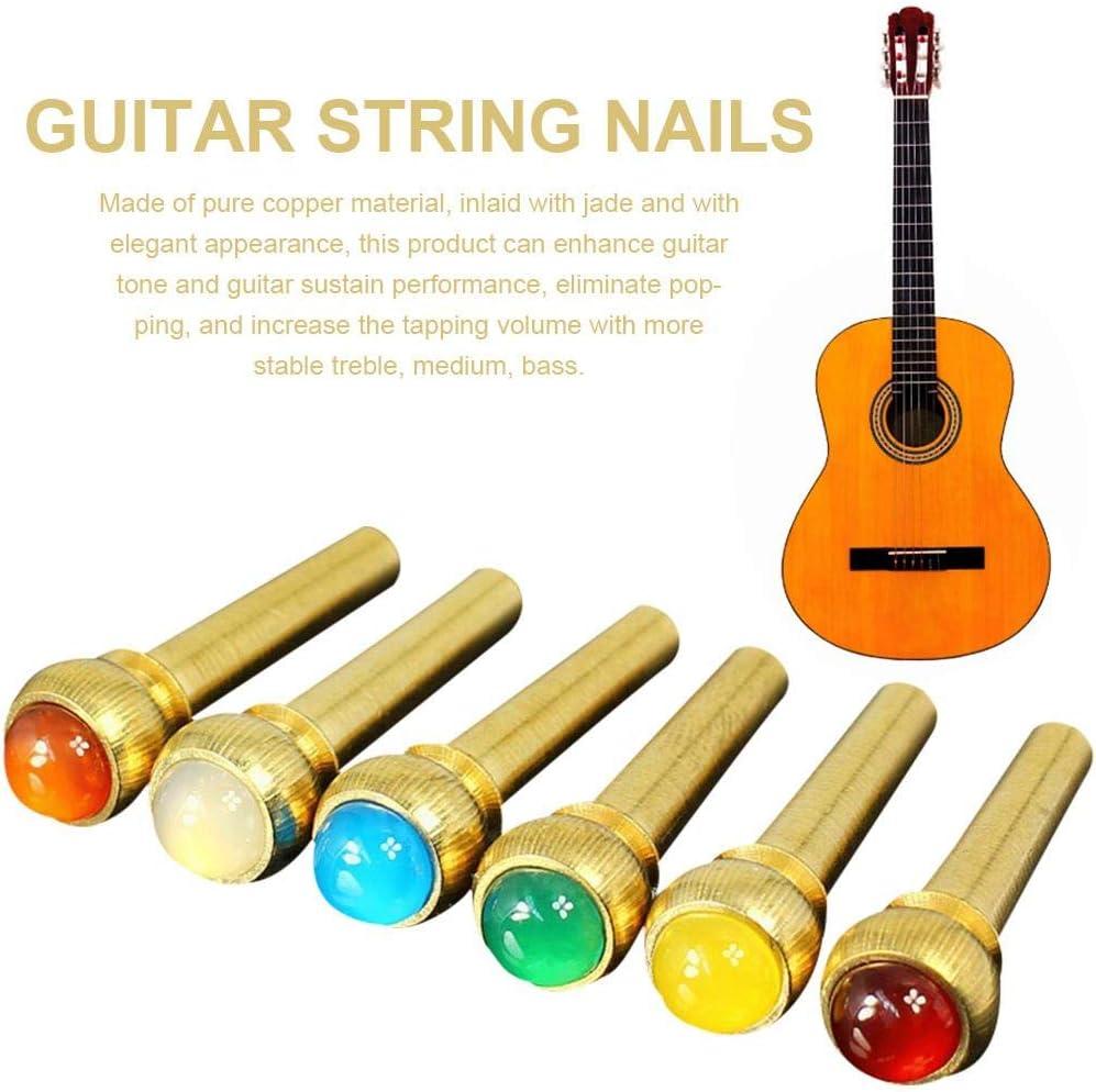 Easy-topbuy 6 piezas de piedra preciosa natural para guitarra de cobre puro para guitarra clavo puente para guitarra para sonido Pop eliminando la guitarra Sustain Performance Enhancement Manner
