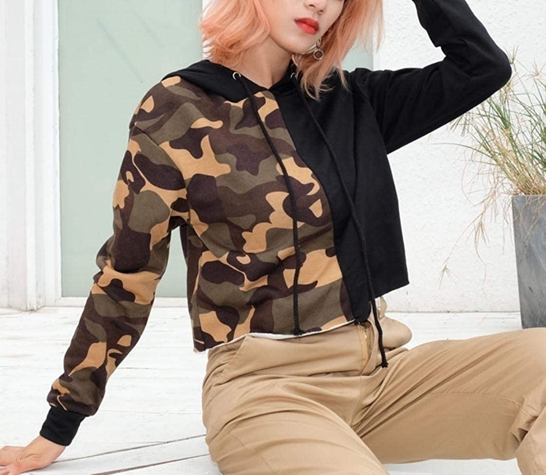 YUNY Womens Camo Outwear Fringed Splicing Hoodies Sweater Pullover XS