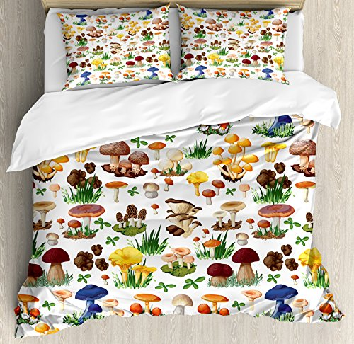 Ambesonne Mushroom Decor Duvet Cover Set, Pattern with Types of Mushrooms Wild Species Organic Natural Food from Nature Garden Theme, 3 Piece Bedding Set with Pillow Shams, Queen/Full, (Natura Organic Comforter)