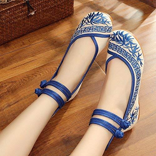 Fuxitoggo Bestickte Schuhe Sehnensohle Ethno-Stil weibliche Stoffschuhe Mode bequem lässig im Anstieg blau 41 (Farbe   - Größe   -)