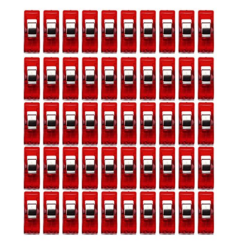 Fan-Ling 50pcs Clips,Clear Sewing Craft Quilt Binding Plastic Clips Clamps Pack,Mini Clear Plastic Clips, Clamps Pack,Clothes Line Clips, Clothesline Utility Clips (red) (Loom Clamps Plastic)