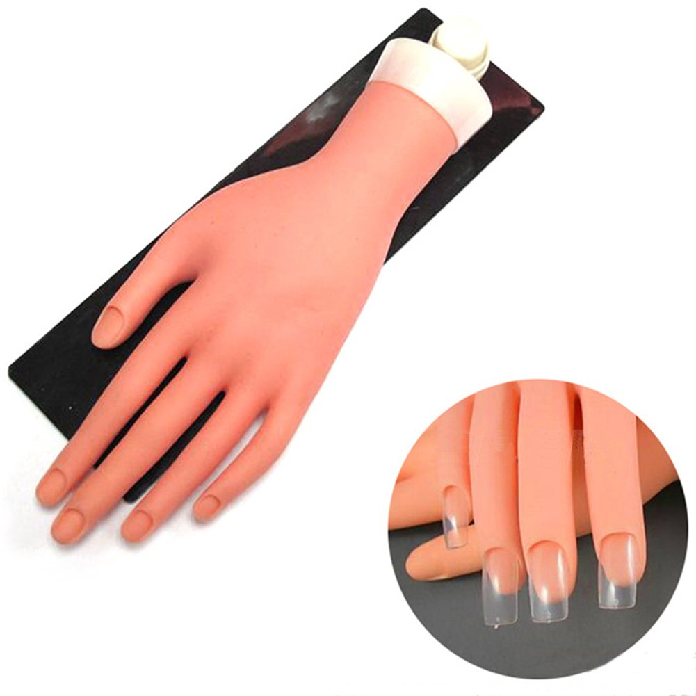 HuangHM Flexible Prosthetic Soft Fingers Flectional Mannequin Model Fake Hand Nail Art Practice for Manicure Training Design Press on Nails Beauty Salon Movable Reusable Cosmetology Test (With Hanger)