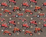 Allis Chalmers Tractor Fabric, Tractor Toss, Brown, Sold by the Yard
