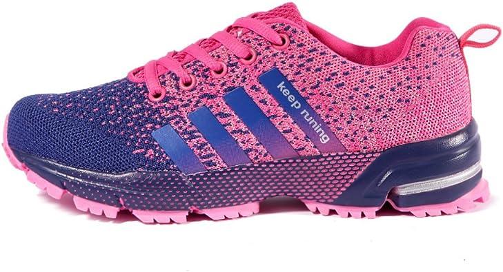 Pamray - Zapatillas de Running de Material Sintético Mujer, Rosa ...
