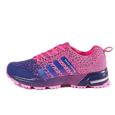 23fc524dc0f357 Basket femme homme chaussures de sport course running Compétition Trail ete  Baskets entraînement Rose 36