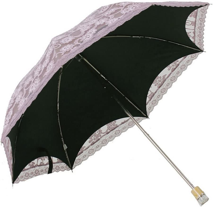 Pink Ifstar Ladies Umbrella Lace Parasol Folding Umbrella Sun Shade Anti-uv