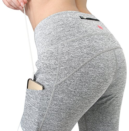 MYoga Women's Yoga Pants Workout Capri Leggings Running Tights w Side Pocket (M, Grey)
