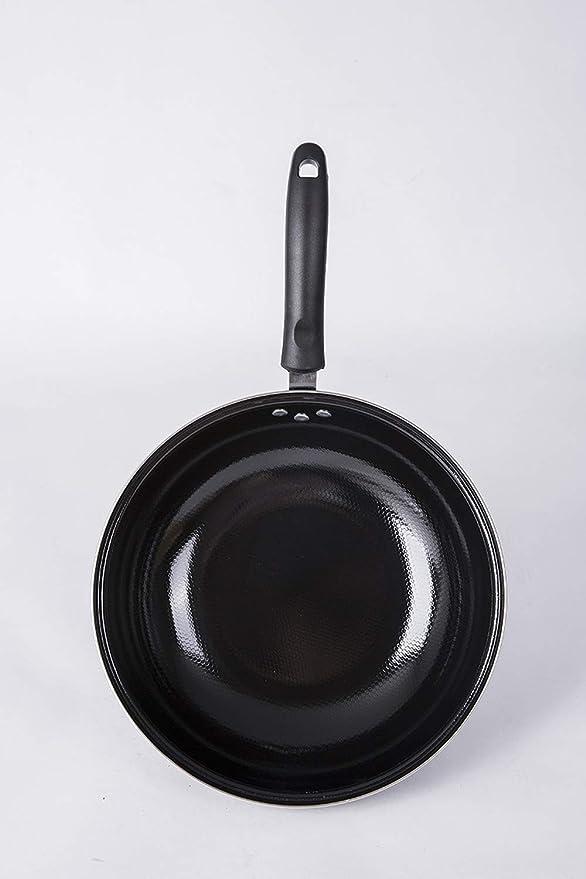 Sartén para restaurante profesional, 12.5 pulgadas Apto para lavavajillas Sartenes Wok chinos Utensilios de cocina para horno con fondo negro plano pre ...