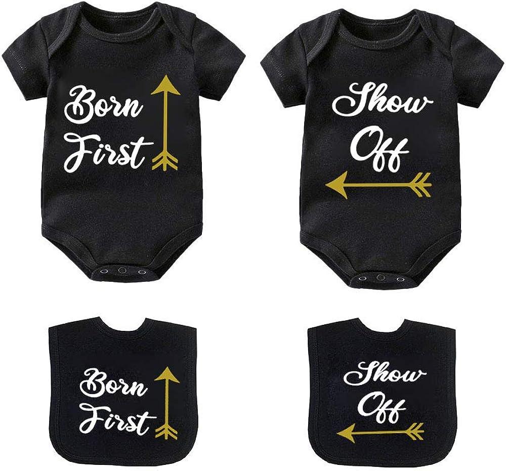 Amazon Com Ysculbutol Twin Babies Shirt Born First Show Off Baby Twins Bodysuit Baby Girl Boy Outfits Newborn Clothing