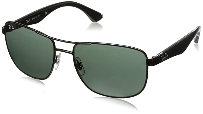 a6692fa78b6 Ray-Ban Steel Man Sunglasses - Black Frame Green Lenses 57mm Non-Polarized
