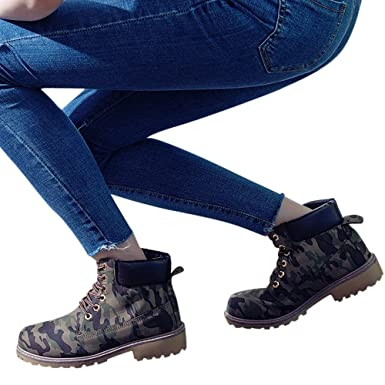 e1f9cff373d Gyoume Hiking Boots Women Lace Up Boots Shoes Flat Wedge Boots Winter Ankle  Boots Shoes