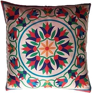 Arabic Oriental Pattern Design Eid Ramadan Pillow Case Cushion Cover Party Favor - Ramadan Kareem with Lotus Flowers Blue and Green