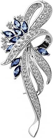Merdia Created Crystal Fancy Vintage Style Brooch Pin for Women girls ladies Blue color