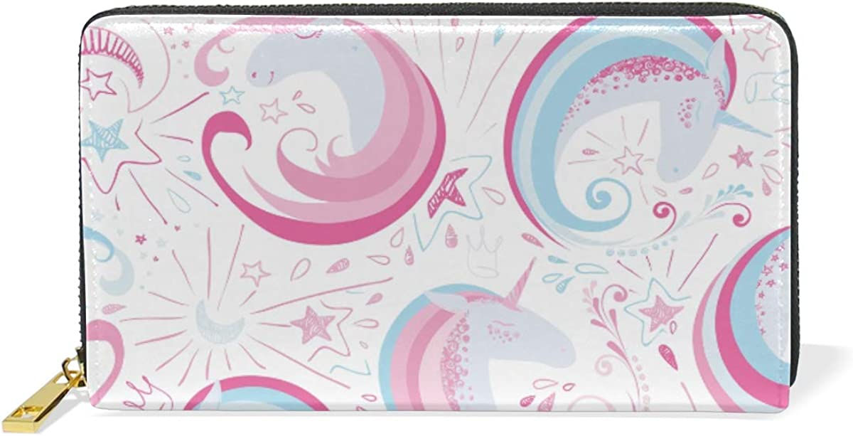 Cool Pink Unicorns Star Leather Womens Zipper Wallets Clutch Coin Case