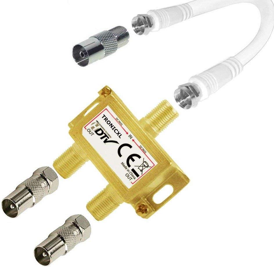 TronicXL IEC - Distribuidor de antena para televisión por cable (2 salidas DVBC, coaxial)
