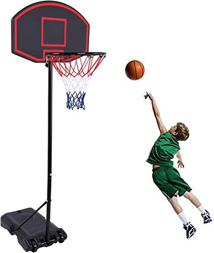 Portable Basketball Hoop System with 28 Inch Width PVC Backboard 2 Nets Wheels Moccha Portable Basketball Hoop w//Adjustable Height 5.4-7 ft Basketball Stand for Youth Kids Teenagers Indoor Outdoor