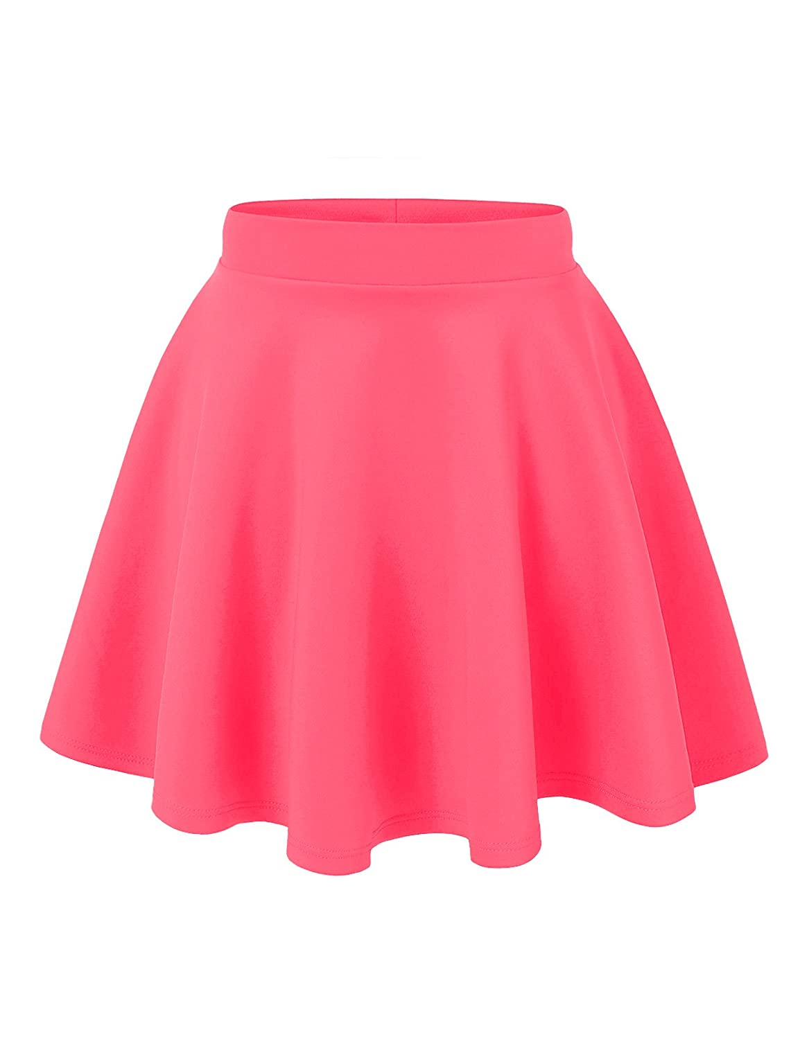Noble U Women's Basic Solid Versatile Stretchy Swing Mini Skater Skirt S4927