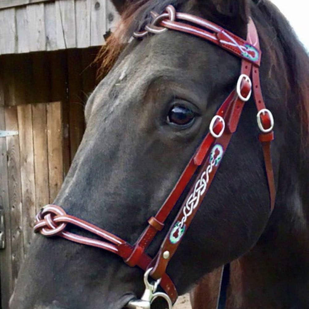 Rhww Desmontable Equitación Cabestro Cabeza Collar Durable Cuero Metal Brida Riendas Correa Ajustable Práctico Equipo Ecuestre,Rojo