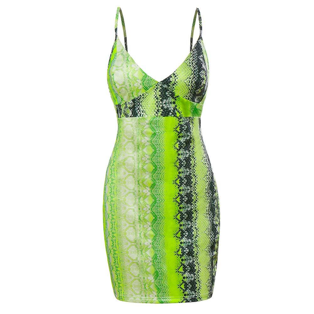 FLourishing Womens Digital Printing Snakeskin Sleeveless Spaghetti Strap Mini Dress