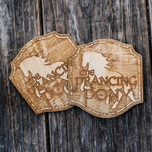 (The Prancing Pony (qty 2) Raw Wood Coaster Set)