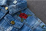 Kids Baby Girls Floral Embroidered Denim Jacket