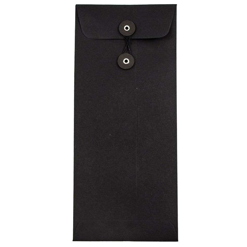 JAM PAPER #10 Business Premium Envelopes with Button and String Closure - 4 1/8 x 9 1/2 - Black Linen - 25/Pack