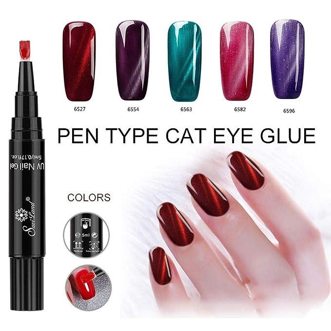 Kobwa - Esmalte de uñas de gel con imán de ojo de gato, lápiz de esmalte de uñas de gel de Kobwa, pincel puntiagudo, fácil de colorear, esmalte de uñas UV ...