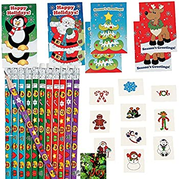 Christmas Party Favors for 24 Kids - 24 MINI Activity Books, 24 Emoji Christmas Pencils, 72 Holiday Tattoos, and a Joy Magnet (Bundle of 4 Different Items), Total 121 pieces