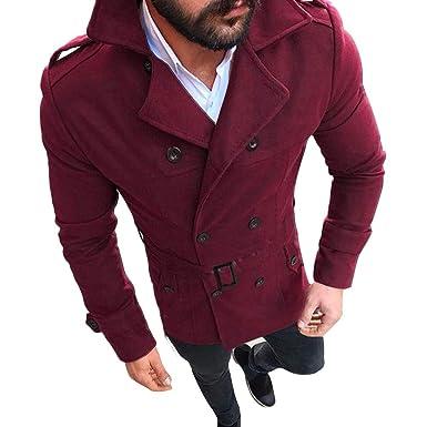 Parka Veste Classique Homme Manteaux en Laine DéContracté Trench Coat Court  Blouson à La Mode Manche b5fbad308b89