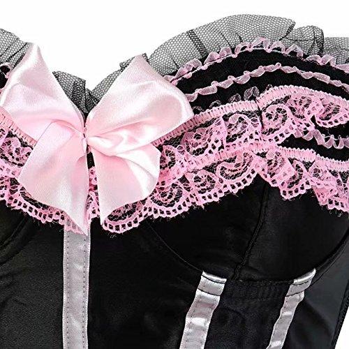 Bustier Top da Top da Showgirl Plus donna Size bustino con overbust per Topper strascico con Black Halloween Pink donna qzrwz8