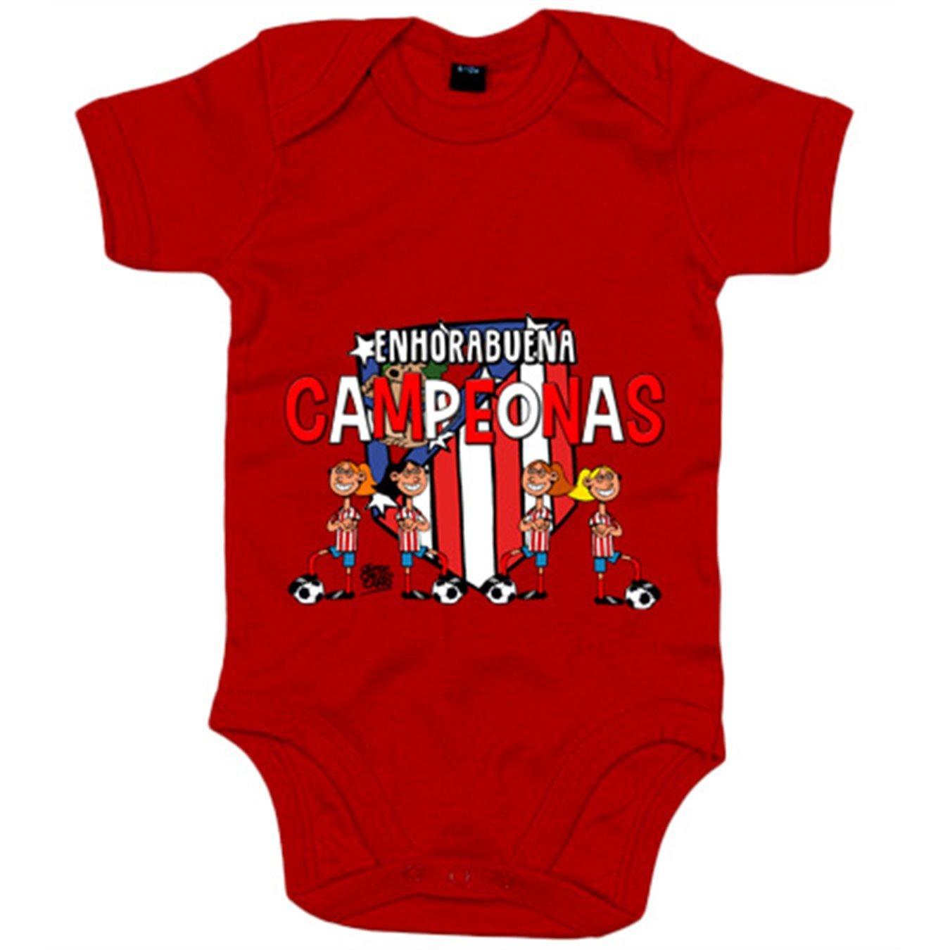 Body bebé Atlético de Madrid Féminas campeonas fútbol femenino - Amarillo, 6-12 meses: Amazon.es: Bebé