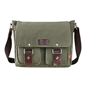 2a292eb24b1 Amazon.com   Genda 2Archer Canvas Messenger Bag for Men and Women Vintage  (ArmyGreen(New))   Messenger Bags