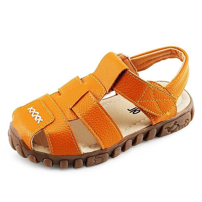 c2ef6e02e Zapatos de verano para niños cerca del dedo del pie sandalias para niños  pequeños escotes en cuero playa transpirable Sandalia comodidad del calzado  para ...