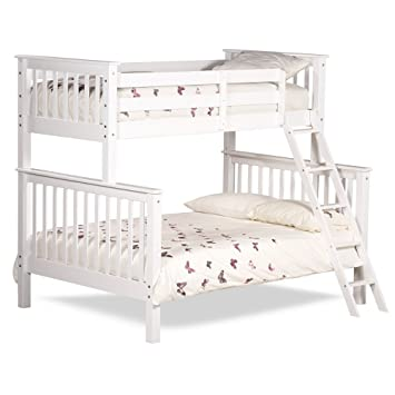 Happy Beds Chiltern White Wooden Triple Sleeper Bunk Bed Furniture Bedroom Frame 3 Single Top 90 X 190 Cm And 4 6 Double Bottom 135 X 190 Cm