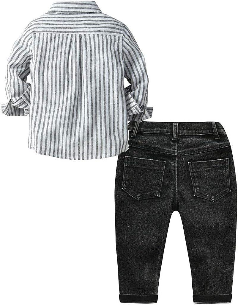 Waymine Kids Baby Boys Long Sleeve Gray Strip Print Shirt Tops+Denim Pants Gentleman Set