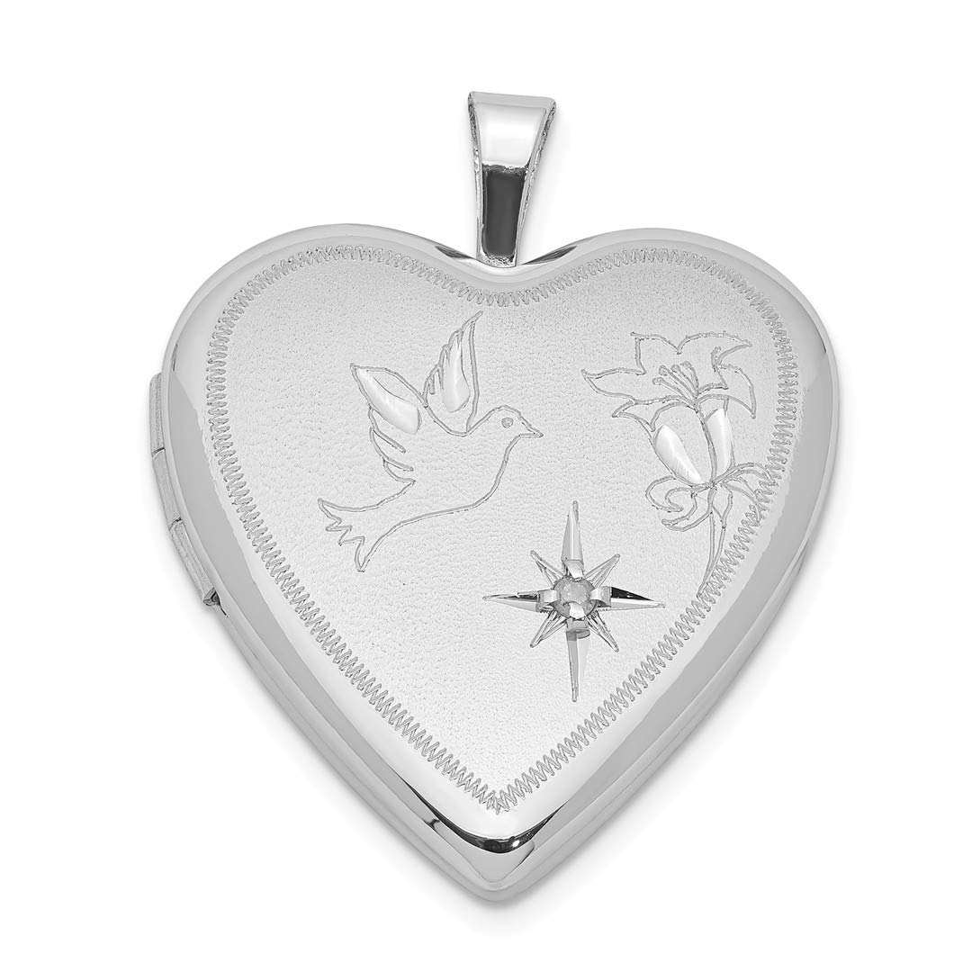 ICE CARATS 925 Sterling Silver Diamond Dove Flower Heart Photo Pendant Charm Locket Chain Necklace That Holds Pictures Fine Jewelry Ideal Gifts For Women Gift Set From Heart