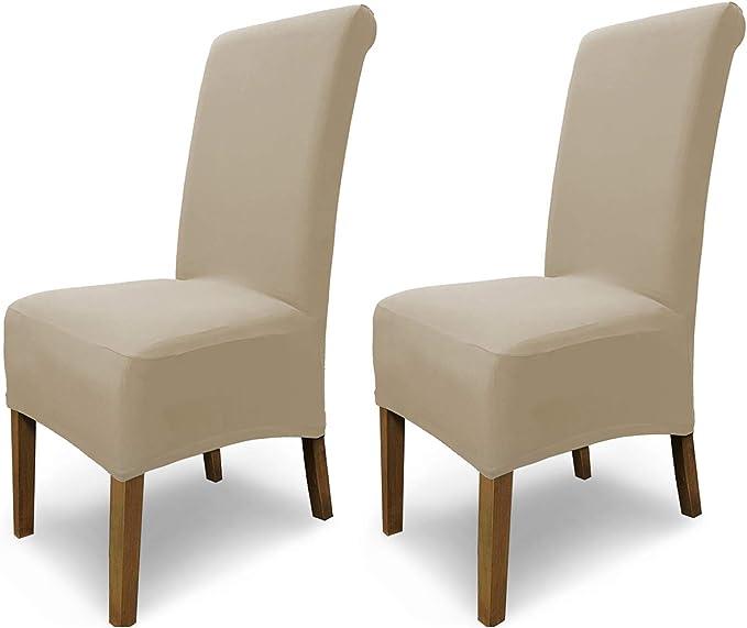 Beige /élastiques Couverture Spandex Housse de chaises SCHEFFLER-Home Emma Coton Couvre rev/êtement de Chaise
