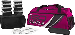 Meal Prep Duffle Bag 4 Meal ISODUFFLE Gym Bag Meal Prep Management Insulated Lunch Bag with 8 Stackable Meal Prep Containers, 2 ISOBRICKS and Shoulder Strap -MADE IN USA (Fuchsia)