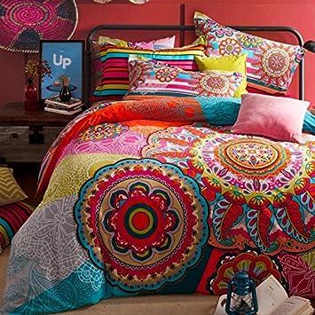 Amazon.com: Sisbay Bohemian Paisley Bedding,Boho Luxury Sanding ...