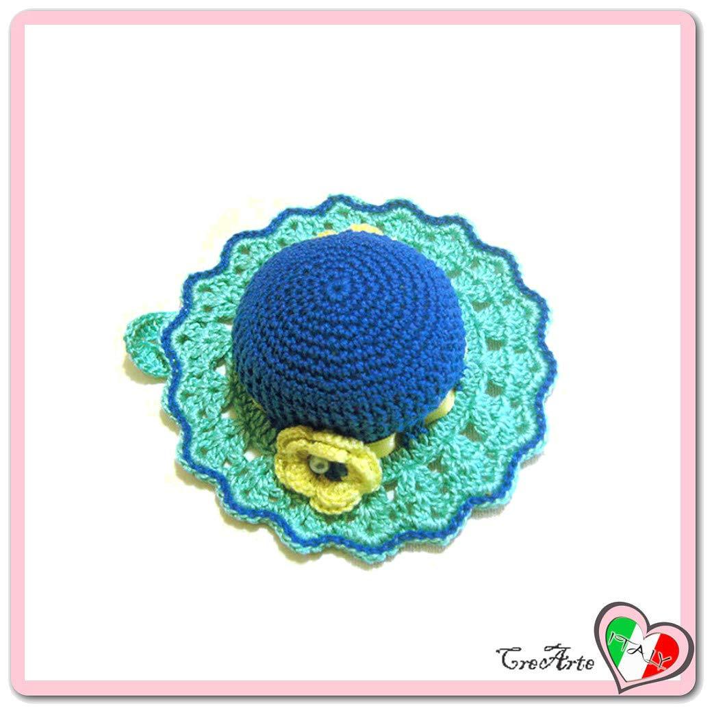 Alfiletero aguamarina y azul en forma de sombrero de ...