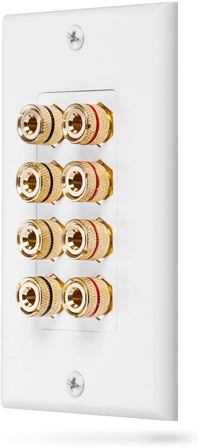 Fosmon (Quad Speaker) Home Theater Wall Plate - Premium Quality Gold Plated Copper Banana Binding Post Coupler Type Audio Wall Plate for 4 Speakers (White)