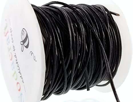 Thin Genuine Black Round Leather Cord for Jewelry Making 1mm Crafts 1.2mm