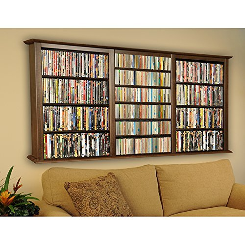Venture Horizon Wall Mount Media Cabinet-Triple - Walnut Cabinet Storage Dvd